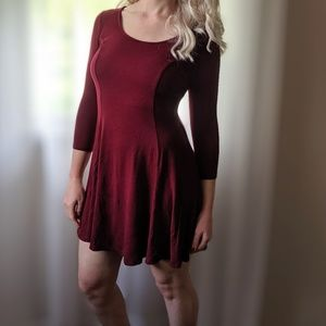 (3/$33 Deal) F21 Maroon Long Sleeve Skater Dress